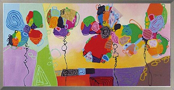 《手描き油絵》オイルペイント アート ビビッド フラワーズ