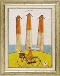 《絵画》サム トフト 海辺のサイクリング
