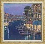 《絵画》マリオ サンツォーネ 薄明かりの川面