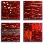 《壁掛け》桜皮細工(かばざいく)4枚セット(さくら、無地、貼りわけ、市松)樺細工