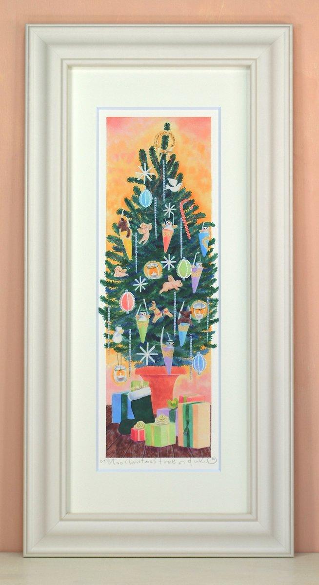 《絵画 水彩画》Christmas tree〔栗乃木ハルミ くりのきはるみ 〕