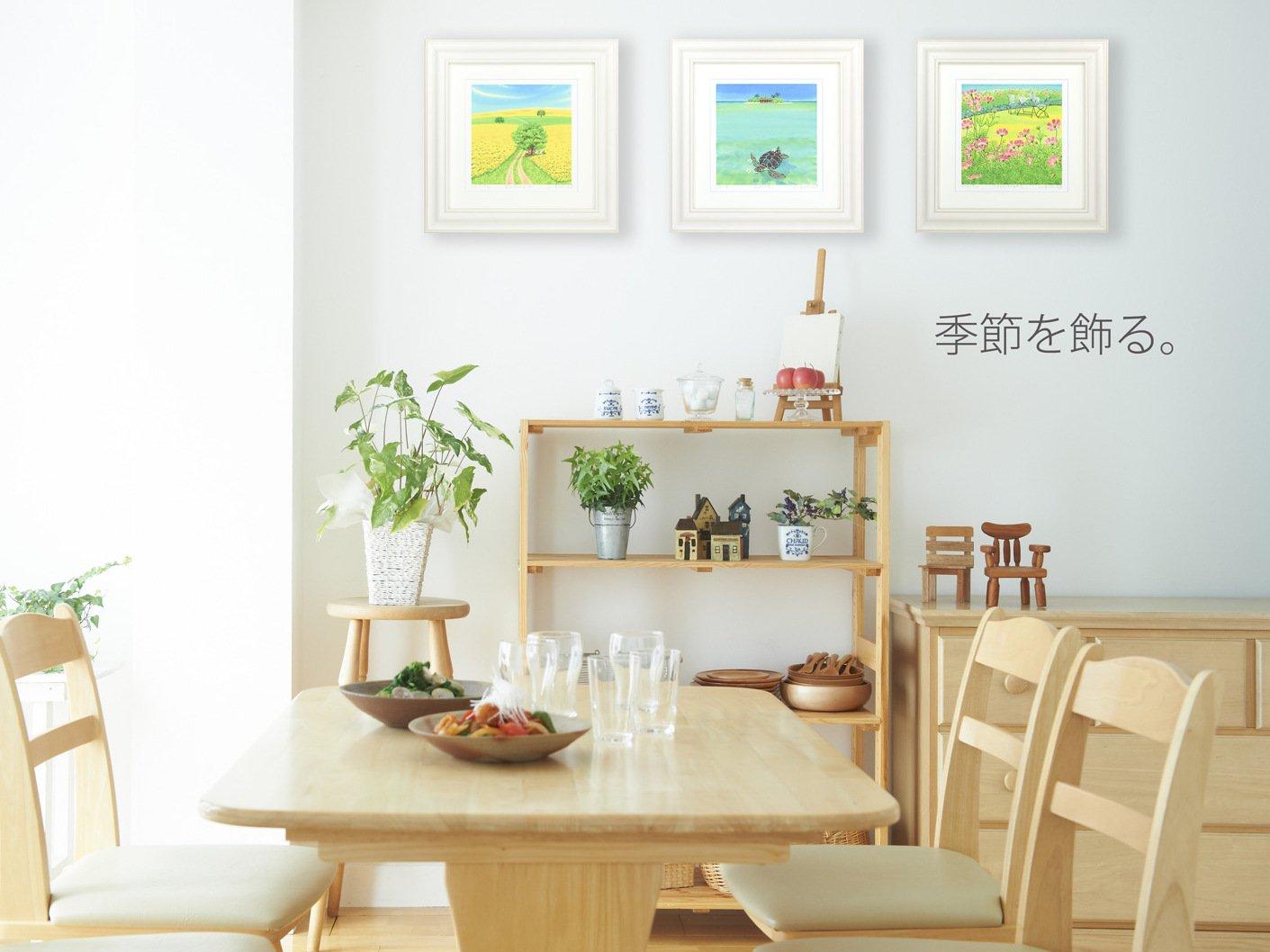 《絵画 水彩画》菜の花畑4(自転車レース)〔栗乃木ハルミ くりのきはるみ 〕