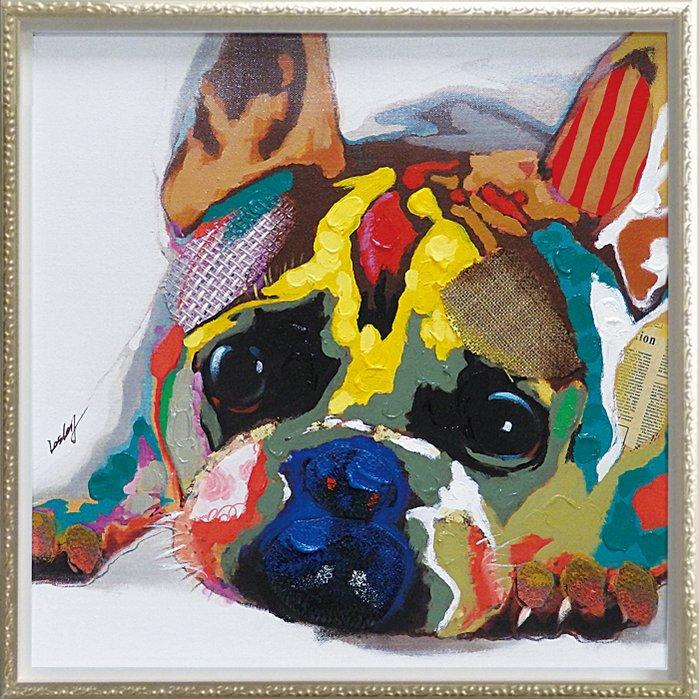 《手描き油絵》オイル ペイント アート「カラフル ブルドッグ(Mサイズ)」