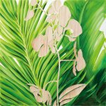 《壁飾り》ウッド スカルプチャー アートオーキッド(ホワイト&グリーン)