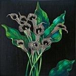 《壁飾り》ウッド スカルプチャー アートカラー(ブラック&グリーン)