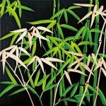 《壁飾り》ウッド スカルプチャー アートバンブー(ブラック&グリーン)