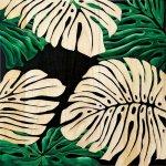 《壁飾り》ウッド スカルプチャー アートモンステラ(ブラック&グリーン)