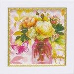 《絵画》【ゆうパケット】ミニゲル アートフレーム アート アトリエ アライアンス「ピンク メイソンジャー ブーケ」