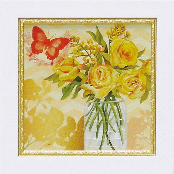 《絵画》【ゆうパケット】ミニゲル アートフレーム アート アトリエ アライアンス「イエロー メイソンジャー ブーケ」