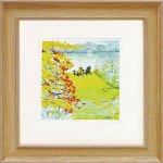《絵画 壁掛け》くりのき はるみ「湖畔の秋」