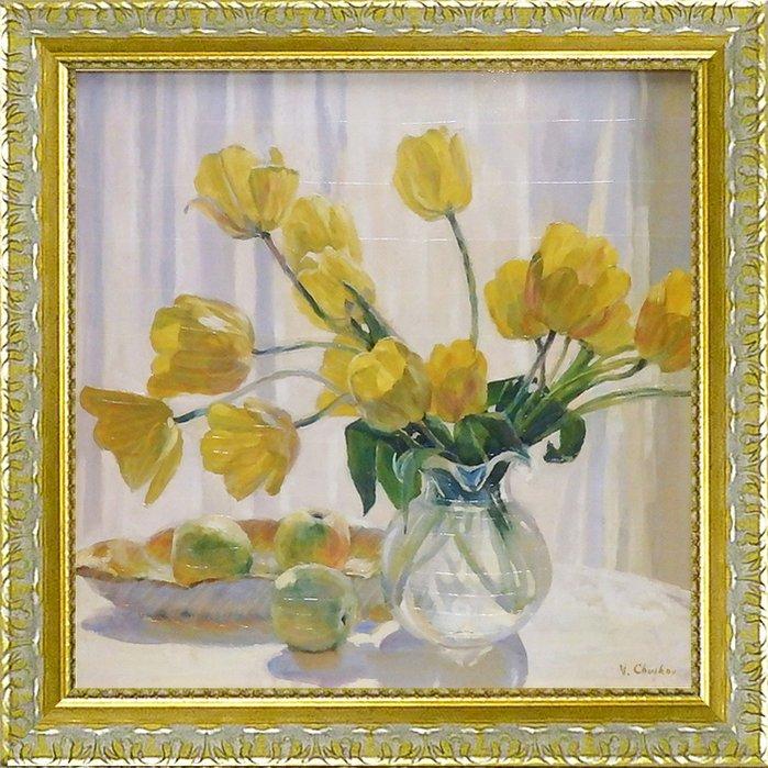 《絵画》バレリー チュイコフ「イエロー チューリップ アンド アップル」