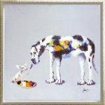 《油絵》オイル ペイント アート「ドッグ ペインティング(Mサイズ)」
