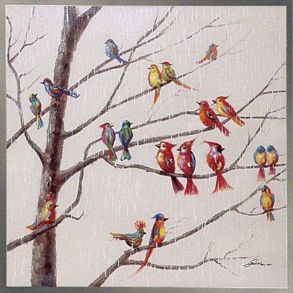 《油絵》オイル ペイント アート「バード オン ブランチ」