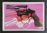 《アートフレーム》Andy Warhol   Gun, c.1981-82 (black, white, red on pink)