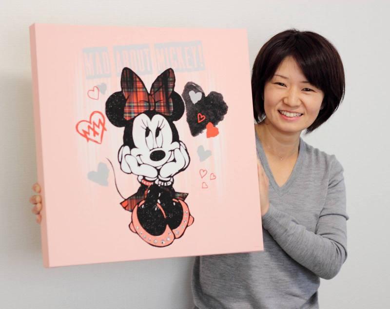《キャンバスアート》Disney ディズニー キャンバスパネル 50角 パターンミッキー