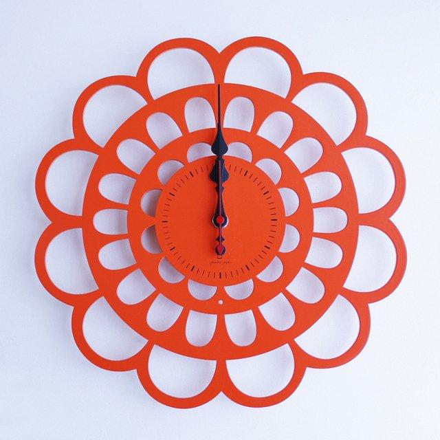 《時計》BOTAN CLOCK オレンジ色/絵画・壁掛けアートは、リビングや玄関におすすめのインテリア。かわいい壁飾りはお部屋を癒やしてくれそう。プレゼントにも。