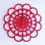 《時計》BOTAN CLOCK 赤色/絵画・壁掛けアートは、リビングや玄関におすすめのインテリア。かわいい壁飾りはお部屋を癒やしてくれそう。プレゼントにも。