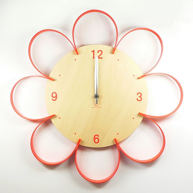 《時計》FLOWER CLOCK オレンジ/絵画・壁掛けアートは、リビングや玄関におすすめのインテリア。かわいい壁飾りはお部屋を癒やしてくれそう。プレゼントにも。