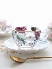 フラワーピオニーガラスカップ&ソーサー