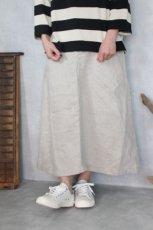 リネンデニム Aラインギャザースカート(Vlas Blomme)