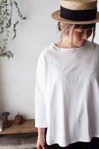 ふんわり天竺・裾ラウンドドロップショルダー8分袖プルオーバー*organic cotton*(harmonie)