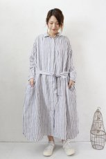 Linen Stripe Waist Ribbon Shirts OP(HEAVENLY)<img class='new_mark_img2' src='https://img.shop-pro.jp/img/new/icons8.gif' style='border:none;display:inline;margin:0px;padding:0px;width:auto;' />