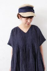 80's POWER LOOM LINEN STRIPE INVERTED PLEATS S/SL DRESS (maison de soil)