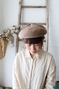 MKF-2201 beret top gather rib cashmere&lamb(mature ha.)