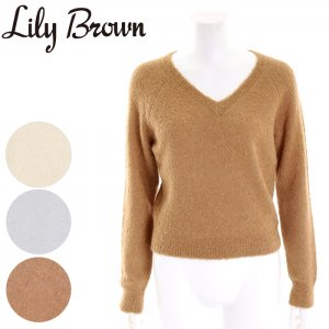 【SOLDOUT】LILY BROWN リリーブラウン Vネックニットトップス LWNT164010 【16AW1】【50☆】<img class='new_mark_img2' src='//img.shop-pro.jp/img/new/icons47.gif' style='border:none;display:inline;margin:0px;padding:0px;width:auto;' />