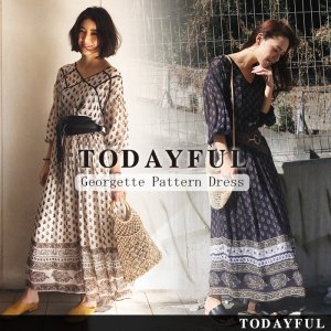 TODAYFUL トゥデイフル Georgette Pattern Dress 11710318 【17SS2】【先行予約】【クレジット限定 納期5月頃】 <img class='new_mark_img2' src='//img.shop-pro.jp/img/new/icons15.gif' style='border:none;display:inline;margin:0px;padding:0px;width:auto;' />