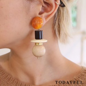 TODAYFUL トゥデイフル Wood Mix Earring 11720959 【17AW2】【先行予約】【クレジット限定 納期12月〜1月頃予定】 <img class='new_mark_img2' src='https://img.shop-pro.jp/img/new/icons15.gif' style='border:none;display:inline;margin:0px;padding:0px;width:auto;' />