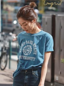 UNGRID アングリッド 【Ca】カレッジプリントロゴTee 111822736101 【18SS2】【新作】 <img class='new_mark_img2' src='https://img.shop-pro.jp/img/new/icons11.gif' style='border:none;display:inline;margin:0px;padding:0px;width:auto;' />