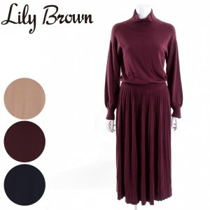 【SOLDOUT】LILY BROWN リリーブラウン プリーツニットワンピース LWNO165019 【16AW2】【50☆】<img class='new_mark_img2' src='https://img.shop-pro.jp/img/new/icons47.gif' style='border:none;display:inline;margin:0px;padding:0px;width:auto;' />