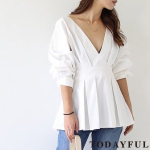 TODAYFUL トゥデイフル Tuck Peplum Shirts 11810417 【18SS1】【先行予約】【クレジット限定 納期3月〜4月頃予定】 <img class='new_mark_img2' src='https://img.shop-pro.jp/img/new/icons15.gif' style='border:none;display:inline;margin:0px;padding:0px;width:auto;' />