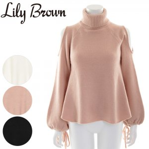 LILY BROWN リリーブラウン オープンショルダーニットトップス LWNT165013 【16AW2】【SALE】【50%OFF】 <img class='new_mark_img2' src='//img.shop-pro.jp/img/new/icons20.gif' style='border:none;display:inline;margin:0px;padding:0px;width:auto;' />