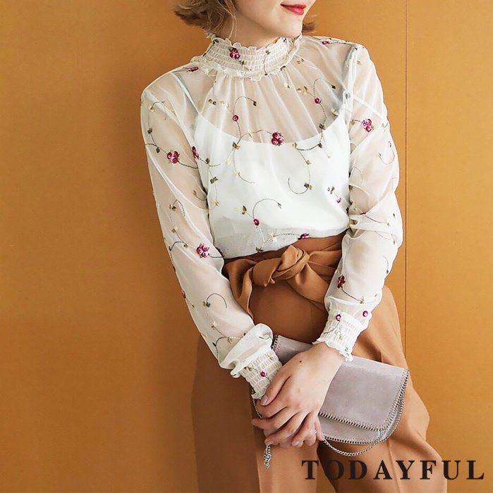 TODAYFUL トゥデイフル Flower Sheer Blouse 11720417 【17AW1】【新作】