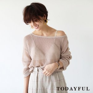 TODAYFUL トゥデイフル Boatneck Sheer Knit 11810513 【18SS1】【先行予約】【クレジット限定 納期3月〜4月頃予定】 <img class='new_mark_img2' src='https://img.shop-pro.jp/img/new/icons15.gif' style='border:none;display:inline;margin:0px;padding:0px;width:auto;' />