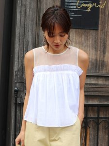 UNGRID アングリッド 【La】チュールコンビノースリブラウス 111730415501 【17SS2】【SALE】【40%OFF】<img class='new_mark_img2' src='https://img.shop-pro.jp/img/new/icons20.gif' style='border:none;display:inline;margin:0px;padding:0px;width:auto;' />