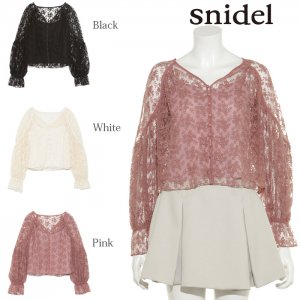 ●SNIDEL スナイデル パフスリーブレースBL SWFB175099 【17AW2】【先行予約】【クレジット限定 納期2017/12/上〜2018/1/上頃予定】 <img class='new_mark_img2' src='https://img.shop-pro.jp/img/new/icons15.gif' style='border:none;display:inline;margin:0px;padding:0px;width:auto;' />