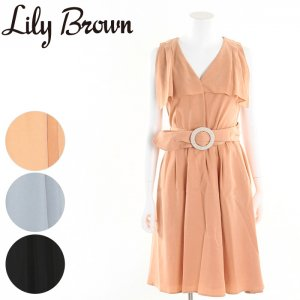 LILY BROWN リリーブラウン まんまるバックルワンピース LWFO171145 【17SS1】【新作】 <img class='new_mark_img2' src='//img.shop-pro.jp/img/new/icons11.gif' style='border:none;display:inline;margin:0px;padding:0px;width:auto;' />