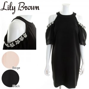 LILY BROWN リリーブラウン 肩あきワンピース LWFO171818 【17SS1】【新作】 <img class='new_mark_img2' src='//img.shop-pro.jp/img/new/icons11.gif' style='border:none;display:inline;margin:0px;padding:0px;width:auto;' />