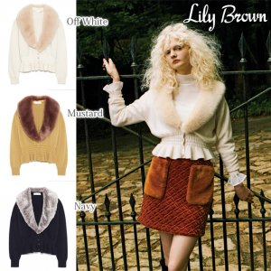 LILY BROWN リリーブラウン ファー衿付ニットカーディガン LWNT174098 【17AW1】【新作】<img class='new_mark_img2' src='https://img.shop-pro.jp/img/new/icons11.gif' style='border:none;display:inline;margin:0px;padding:0px;width:auto;' />