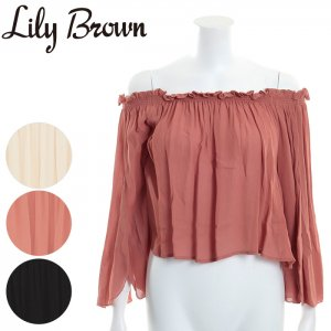 LILY BROWN リリーブラウン デザイン袖オフショルトップス LWFT171012 【17SS1】【新作】 <img class='new_mark_img2' src='//img.shop-pro.jp/img/new/icons11.gif' style='border:none;display:inline;margin:0px;padding:0px;width:auto;' />
