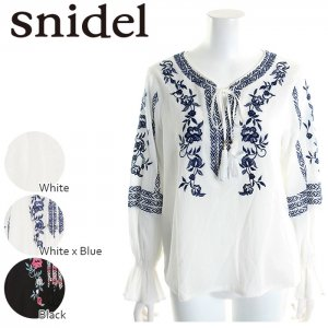 〇SNIDEL スナイデル エンブロイダリーコットンBL SWFB171122 【17SS1】【新作】 <img class='new_mark_img2' src='https://img.shop-pro.jp/img/new/icons11.gif' style='border:none;display:inline;margin:0px;padding:0px;width:auto;' />