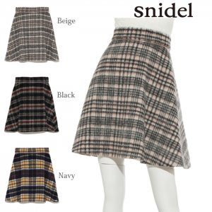 ●SNIDEL スナイデル シャギーチェックミニSK SWFS175123 【17AW2】【先行予約】【クレジット限定 納期2017/12/中〜2018/1/中頃予定】 <img class='new_mark_img2' src='https://img.shop-pro.jp/img/new/icons15.gif' style='border:none;display:inline;margin:0px;padding:0px;width:auto;' />