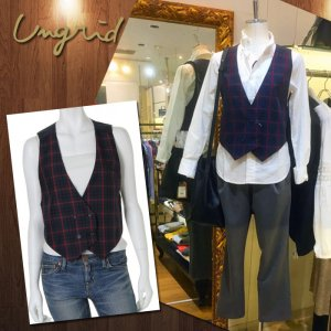 UNGRID アングリッド ガンクラブチェックベスト 111430157401【14AW】【SALE】【70%OFF】<img class='new_mark_img2' src='https://img.shop-pro.jp/img/new/icons20.gif' style='border:none;display:inline;margin:0px;padding:0px;width:auto;' />