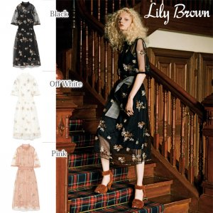 LILY BROWN リリーブラウン チュールフラワーワンピース LWFO174110 【17AW1】【SALE】【40%OFF】