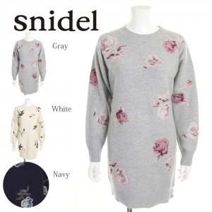 SNIDEL スナイデル ローズモチーフニットワンピース SWNO175161 【17AW2】【SALE】【50%OFF】<img class='new_mark_img2' src='https://img.shop-pro.jp/img/new/icons20.gif' style='border:none;display:inline;margin:0px;padding:0px;width:auto;' />