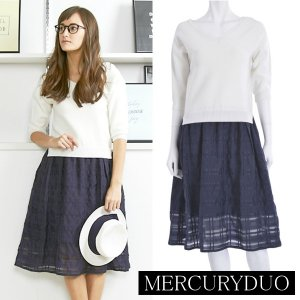 MERCURY マーキュリー 【LUX】 シアーチェックドッキングニットワンピース  001510301701 【15SS】【SALE】【50%OFF】<img class='new_mark_img2' src='https://img.shop-pro.jp/img/new/icons20.gif' style='border:none;display:inline;margin:0px;padding:0px;width:auto;' />