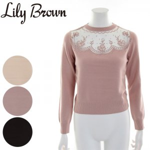 【SOLDOUT】LILY BROWN リリーブラウン 透け刺繍プルオーバー LWNT165108 【16AW2】【50☆】 <img class='new_mark_img2' src='https://img.shop-pro.jp/img/new/icons47.gif' style='border:none;display:inline;margin:0px;padding:0px;width:auto;' />